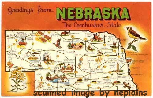 Nebraska Greetings From Nebraska State Map Artist