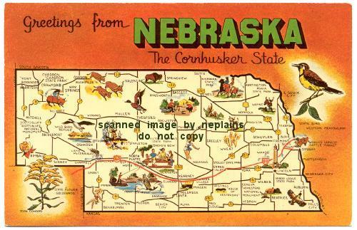 NEBRASKA - Greetings from Nebraska - state map - artist Joan Conrad ...