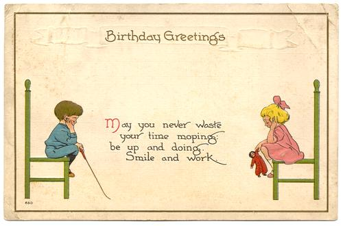 Birthday greetings girl and boy sitting on chairs 1912 m4hsunfo