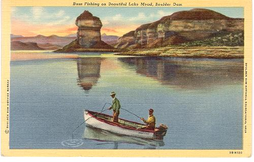 Nevada boulder dam lake mead bass fishing 1940 for Fishing lake mead