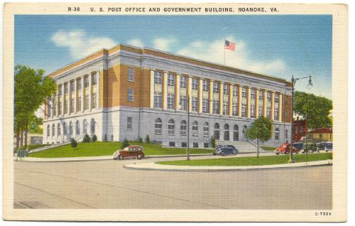 Virginia roanoke post office government building 1940s for Home builder in roanoke va