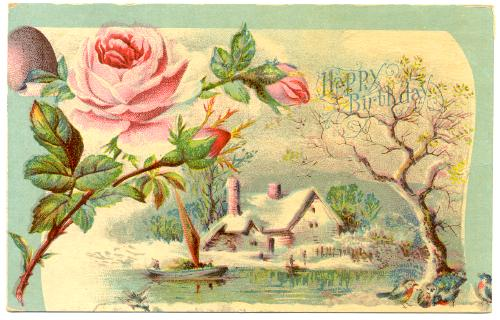 BIRTHDAY Happy Birthday Pink Rose And Country Scene On