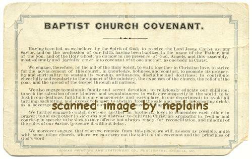 Baptist church covenant salesman sample postcard thecheapjerseys Images